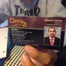 Century 21 Business Cards Century 21 Allstars Real Estate Agents 9155 Telegraph Rd Pico