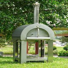 freestanding stainless steel wood fired outdoor pizza oven with