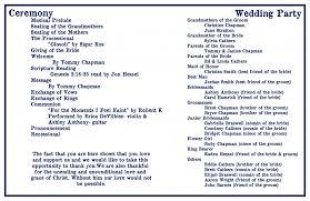 Sample Wording For Wedding Programs Baptist Wedding Ceremony Program Tbrb Info
