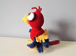 crochet red parrot amigurumi doll baby gift kids boys girls home