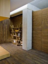 contemporary wood cladding flooring interior design ideas