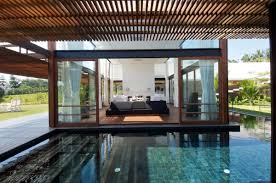 simple glass swimming pool house at modern po 6552