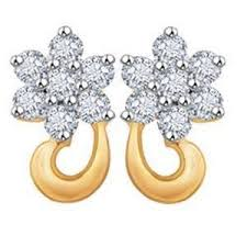 real gold earrings avsar real gold and diamond fancy flower shape earrings ave022