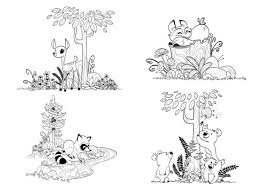 Items Similar To Woodland Forest Animals Coloring Pages For Forest Animals Coloring Pages