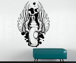 vinyl wall decal sticker graffiti can with wings 1469