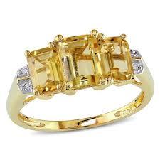 citrine engagement rings miadora 10k yellow gold emerald cut citrine diamond ring free