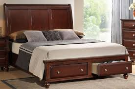 Brown Wood Bed Frame Brown Varnished Mahogany Wood Size Platform Bed With Front