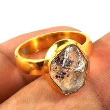 gemstone rings gold images Diamond o brr912 handmade gold plated brass natural rough JPG