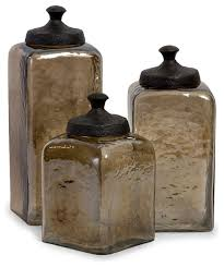 kitchen canisters and jars square brown luster canisters set of 3 transitional kitchen