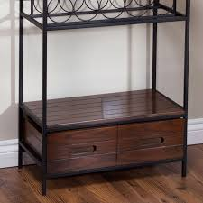 Wood Bakers Racks Furniture Sturdy Metal And Wood Bakers Rack With Wine Glass And Bottle