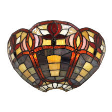 Battery Wall Sconce Lighting It U0027s Exciting Lighting 7 Light Stained Glass Half Moon Battery