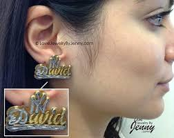 name plate earrings name plate earrings etsy