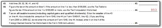1040a Tax Table 1040 Line 44 No Tax Or Tax Different Than Tax Table