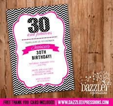 pink and black chevron birthday invitation 16th 21st 30th