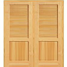 interior louvered doors home depot mmi door 74 in x 81 75 in unfinished pine half louver 1 panel