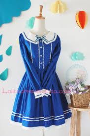 cheap blue cotton navy collar long sleeves bow sailor dress