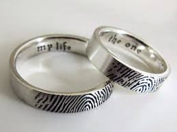 fingerprint wedding band these wedding rings display the fingerprints of your lover