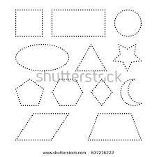 shapes preschool worksheet practicing fine motor stock vector