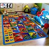amazon com kids rug abc animals area rug 5 u0027 x 7 u0027 children area