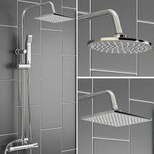 thermostatic shower unit mixer modern bath tap twin head http