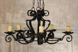 Vintage French Chandeliers French Vintage Wrought Iron 5 Arm Chandelier With Swirled Arms