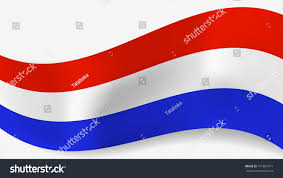 White Blue Orange Flag Abstract Vector Wavy Netherlands Flag Shadow Stock Vector