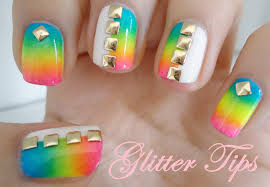 glitter tips rainbows gradients and studs nail art