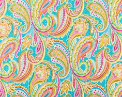 blue paisley fabric etsy