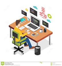 Flat Computer Desk Professional Programmer Working Writing Code On Laptop Computer At