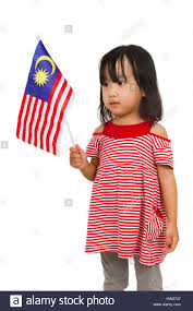 Malaysai Flag Asian Chinese Child With Malaysia Flag In Isolated White