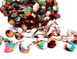 cotton mutli colored pom pom trim pompom lace indian pom