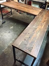 Wood L Shaped Desk L Shaped Desk Reclaimed Wood With Metal Base Handmade