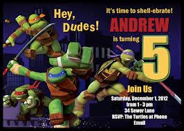 teenage mutant ninja turtle birthday party invitations baby