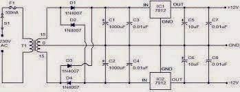 dc 12 volts power supply circuit electronic projects ic based