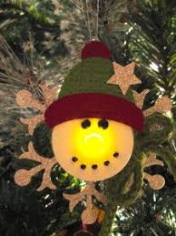 snowman ornament made with a battery operated tea light