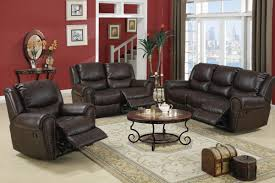 circulade3piece recliner living room set in choco bonded leather
