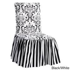black and white chair covers damask and stripe dining chair slipcover set of 2 free