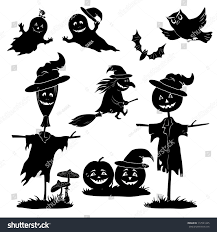 flying halloween ghost halloween cartoon set black silhouette on stock vector 112521245