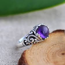 natural amethyst rings images Nepal ethnic handmade retro carving 925 sterling silver rings for jpg