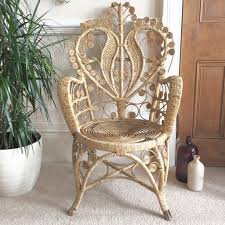 Fauteuil Enfant Osier by Vintage Boho Intricate Peacock Wicker Chair Right Fauteuil