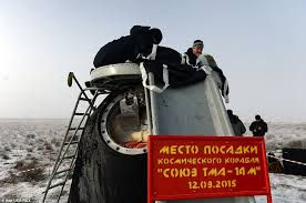 stunning image of soyuz capsule carrying astronauts from