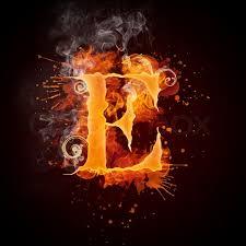 e fire swirl letter e isolated on black background computer design