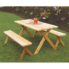 Western Red Cedar Outdoor Furniture by A U0026amp L Furniture Western Red Cedar Crossleg Picnic Table With 2