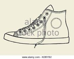 hand drawn sketch of sport shoes sneakers for summer vector