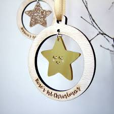 Baby First Christmas Bauble Personalised by Personalised Baby U0027s First Christmas Star Bauble By Hoobynoo
