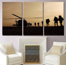 3 piece hd printed helicopter army sun paint wall art canvas