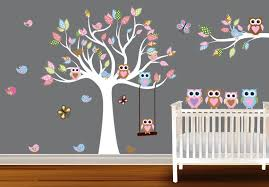 living room captivating bedroom design ideas gold tree wall full size of living room gorgeous colourful owl in tree wall decal white design on grey
