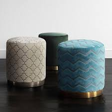 Modern Digs Furniture by Opal Ottoman Blue Sky Brushed Gold Modern Digs Furniture