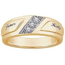 wedding rings with names personalized men s cz 10kt gold engraved name wedding ring