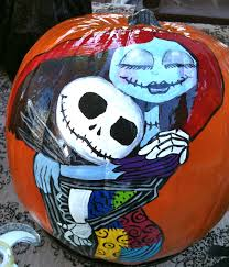 sally and jack skellington pumpkin painting picture home design
